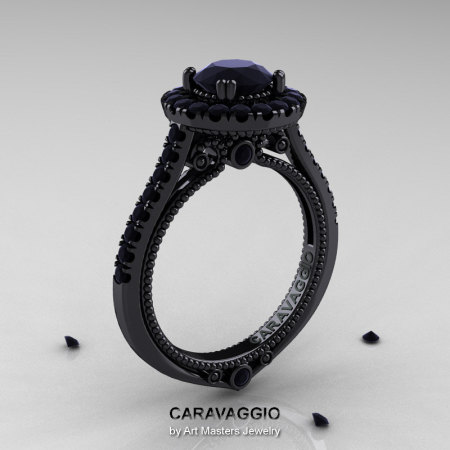 Caravaggio 14K Black Gold 1.0 Ct Black Diamond Engagement Ring Wedding Ring R621-14KBGBD-1