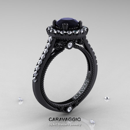 Caravaggio 14K Black Gold 1.0 Ct Black and White Diamond Engagement Ring Wedding Ring R621-14KBGDBD-1