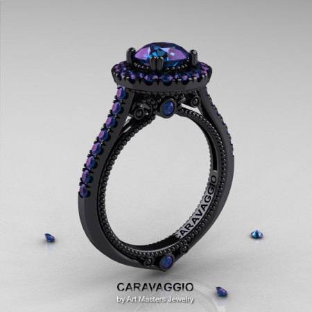 Caravaggio 14K Black Gold 1.0 Ct Russian Alexandrite Engagement Ring Wedding Ring R621-14KBGAL-1