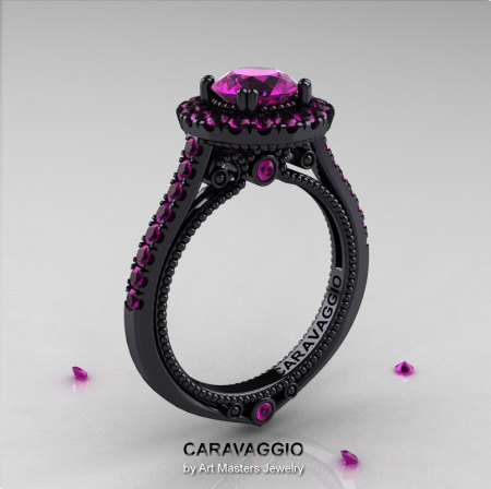 Caravaggio 14K Black Gold 1.0 Ct Amethyst Engagement Ring Wedding Ring R621-14KBGBAM-1