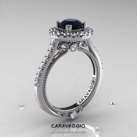 Caravaggio 14K White Gold 1.0 Ct Black and White Diamond Engagement Ring Wedding Ring R621-14KWGDBD-1