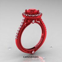 Caravaggio 14K Red Gold 1.0 Ct Ruby Diamond Engagement Ring Wedding Ring R621-14KRGDR-1