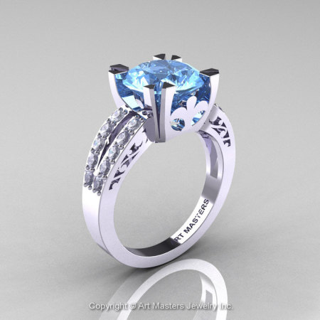 Modern Vintage 14K White Gold 3.0 Carat Blue Topaz Diamond Solitaire Ring R102-14KWGDBT-1