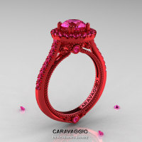 Caravaggio 14K Red Gold 1.0 Ct Pink Sapphire Engagement Ring Wedding Ring R621-14KRGPS-1