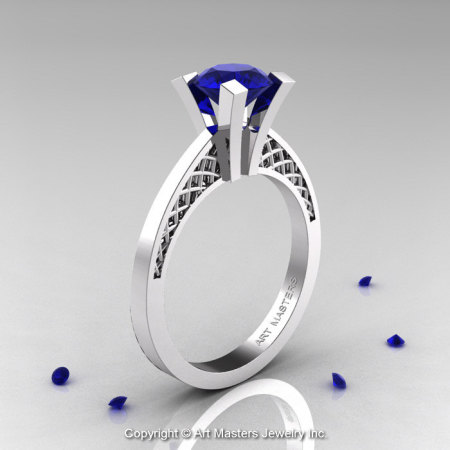 Modern Armenian 14K White Gold Lace 1.0 Ct Blue Sapphire Solitaire Engagement Ring R308-14KWGBS-1