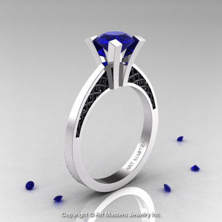 Modern Armenian 14K White Gold Black Gold Lace 1.0 Ct Blue Sapphire Solitaire Engagement Ring R308-14KWGBGBS-1