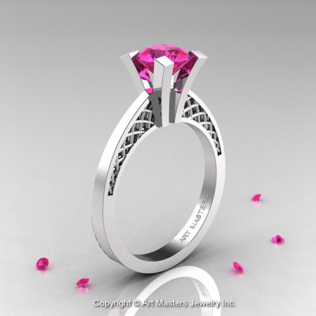 Modern Armenian 14K White Gold Lace 1.0 Ct Pink Sapphire Solitaire Engagement Ring R308-14KWGPS-1