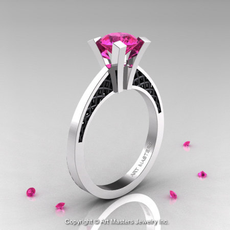 Modern Armenian 14K White Gold Black Gold Lace 1.0 Ct Pink Sapphire Solitaire Engagement Ring R308-14KWGBGPS-1