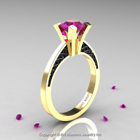Modern Armenian 14K Yellow Gold Black Gold Lace 1.0 Ct Amethyst Solitaire Engagement Ring R308-14KYGBGAM-1