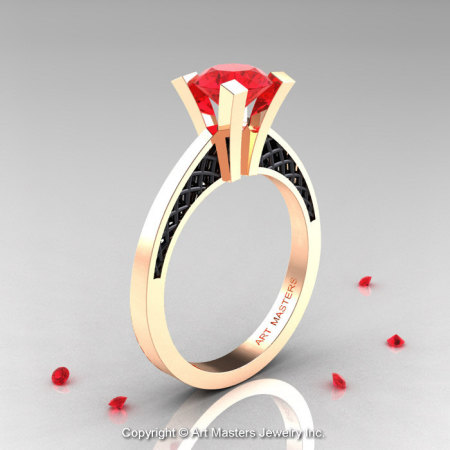 Modern Armenian 14K Rose Gold Black Gold Lace 1.0 Ct Ruby Solitaire Engagement Ring R308-14KRGBGR-1