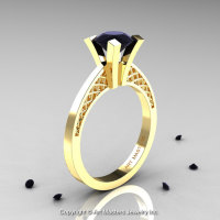Modern Armenian 14K Yellow Gold Lace 1.0 Ct Black Diamond Solitaire Engagement Ring R308-14KYGBD-1