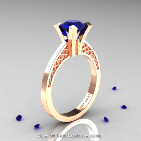 Modern Armenian 14K Rose Gold Lace 1.0 Ct Blue Sapphire Solitaire Engagement Ring R308-14KRGBS-1