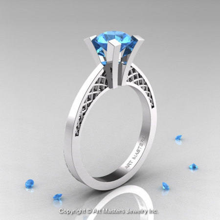 Modern Armenian 14K White Gold Lace 1.0 Ct Blue Topaz Solitaire Engagement Ring R308-14KWGBT-1