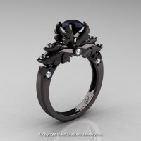 Classic Blazer 14K Black Gold 1.0 Ct Black and White Diamond Solitaire Engagement Ring R482-14KBGDBD-1