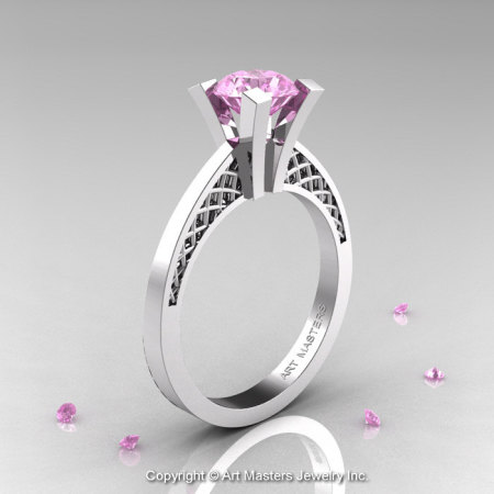 Modern Armenian 14K White Gold Lace 1.0 Ct Light Pink Sapphire Solitaire Engagement Ring R308-14KWGLPS-1