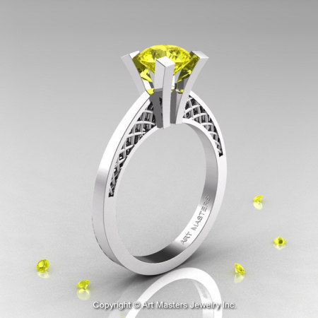 Modern Armenian 14K White Gold Lace 1.0 Ct Yellow Sapphire Solitaire Engagement Ring R308-14KWGYS-1