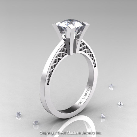 Modern Armenian 14K White Gold Lace 1.0 Ct Cubic Zirconia Solitaire Engagement Ring R308-14KWGCZ-1