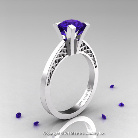 Modern Armenian 14K White Gold Lace 1.0 Ct Tanzanite Solitaire Engagement Ring R308-14KWGTA-1