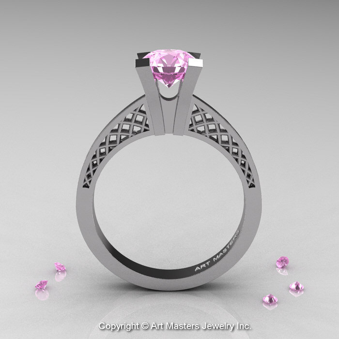 Modern Armenian 14K White Gold Lace 1 0 Ct Light Pink Sapphire Solitaire Enga