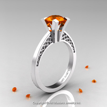Modern Armenian 14K White Gold Lace 1.0 Ct Orange Sapphire Solitaire Engagement Ring R308-14KWGOS-1