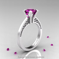 Modern Armenian 14K White Gold Lace 1.0 Ct Amethyst Solitaire Engagement Ring R308-14KWGAM-1