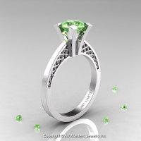 Modern Armenian 14K White Gold Lace 1.0 Ct Green Topaz Solitaire Engagement Ring R308-14KWGGT-1