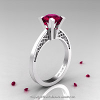 Modern Armenian 14K White Gold Lace 1.0 Ct Garnet Solitaire Engagement Ring R308-14KWGG-1