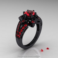 Art Deco 14K Black Gold 1.0 Ct Rubies Wedding Ring Engagement Ring R286-14KBGR-1
