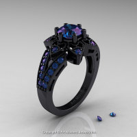 Art Deco 14K Black Gold 1.0 Ct Alexandrite Wedding Ring Engagement Ring R286-14KBGAL-1