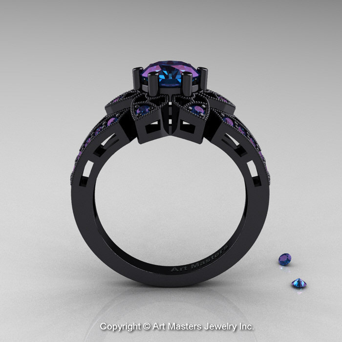 art deco 14k black gold 10 ct alexandrite wedding ring engagement ring r286 14kbgal - Alexandrite Wedding Ring