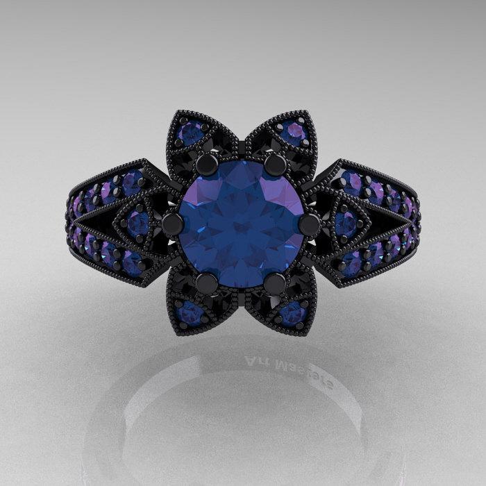 Art Deco 14k Black Gold 1 0 Ct Alexandrite Wedding Ring