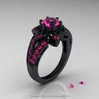 Art Deco 14K Black Gold 1.0 Ct Pink Sapphire Wedding Ring Engagement Ring R286-14KBGPS-1