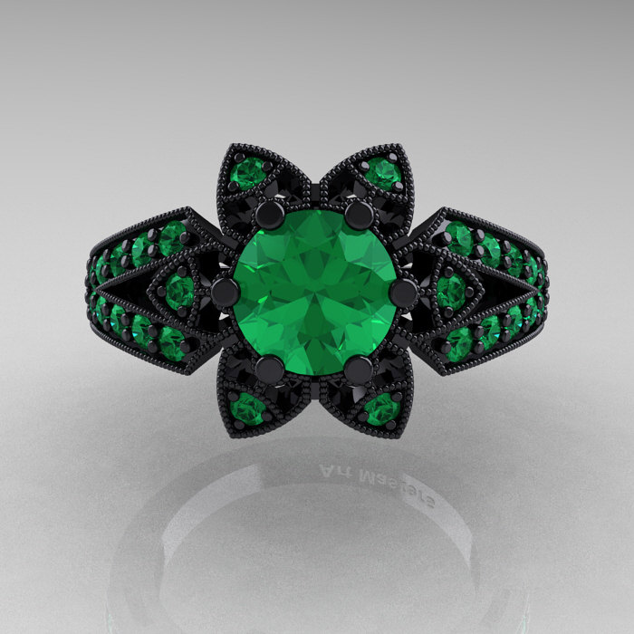 Art Deco 14K Black Gold 1 0 Ct Emerald Wedding Ring Engagement