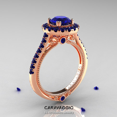Caravaggio 14K Rose Gold 1.0 Ct Blue Sapphire Engagement Ring Wedding Ring R621-14KRGBS-1