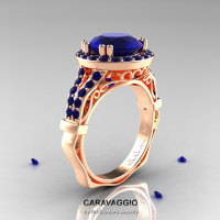 Caravaggio 14K Rose Gold 3.0 Ct Blue Sapphire Engagement Ring Wedding Ring R620-14KRGBS-1
