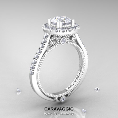 Caravaggio 14K Ceramic White Gold 1.0 Ct Russian CZ Diamond Engagement Ring Wedding Ring R621-14KCWGDCZ-1