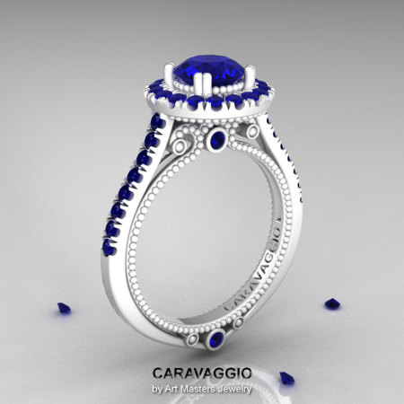 Caravaggio 14K Ceramic White Gold 1.0 Ct Blue Sapphire Engagement Ring Wedding Ring R621-14KCWGBS-1