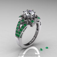 Art Deco 950 Platinum 1.0 Ct Russian CZ Emerald Wedding Ring Engagement Ring R286-PLATEMCZ-1