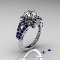 Art Deco 950 Platinum 1.0 Ct Russian CZ Blue Sapphire Wedding Ring Engagement Ring R286-PLATBSCZ-1