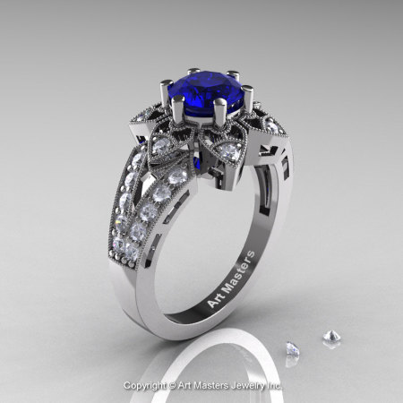 Art Deco 14K White Gold 1.0 Ct Blue Sapphire Diamond Wedding Ring Engagement Ring R286-14KWGDBS-1