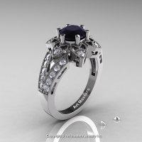 Art Deco 14K White Gold 1.0 Ct Black and White Diamond Wedding Ring Engagement Ring R286-14KWGDBD-1
