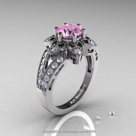 Art Deco 14K White Gold 1.0 Ct Light Pink Sapphire Diamond Wedding Ring Engagement Ring R286-14KWGDLPS-1