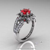 Art Deco 14K White Gold 1.0 Ct Ruby Diamond Wedding Ring Engagement Ring R286-14KWGDR-1