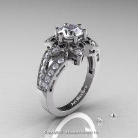 Art Deco 950 Platinum 1.0 Ct Russian CZ Diamond Wedding Ring Engagement Ring R286-PLATDCZ-1