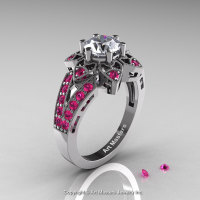 Art Deco 950 Platinum 1.0 Ct White and Pink Sapphire Wedding Ring Engagement Ring R286-PLATWPS-1