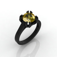 Modern 14K Black Gold Gorgeous Solitaire Bridal Ring with a 2.0 Carat Yellow Sapphire Center Stone R66N-BGYS-1