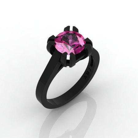 Modern 14K Black Gold Gorgeous Solitaire Bridal Ring with a 2.0 Carat Pink Sapphire Center Stone R66N-BGPS-1
