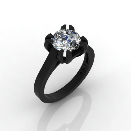 Modern 14K Black Gold Gorgeous Solitaire Bridal Ring with a 2.0 Carat Russian CZ Center Stone R66N-BGCZ-1