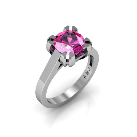 Modern 14K White Gold Gorgeous Solitaire Bridal Ring with a 2.0 Carat Pink Sapphire Center Stone R66N-14KWGPS-1