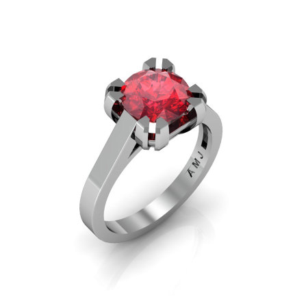 Modern 14K White Gold Gorgeous Solitaire Bridal Ring with a 2.0 Carat Ruby Center Stone R66N-14KWGR-1
